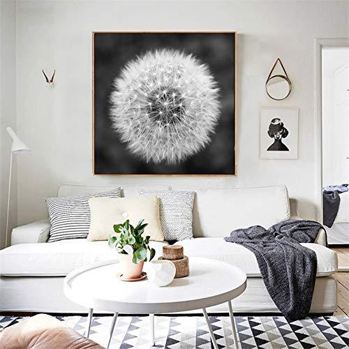 fdgdfgd Diente de león Flor Lienzo Pintura Moderno Arte en Blanco y Negro Imagen Impresa decoración del hogar Sala de Estar Cartel de Pared