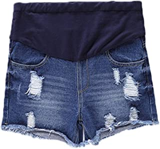 Women's Ripped Hole Tassel High-Waisted Jeans Shorts Pants for Pregnant Women Blue