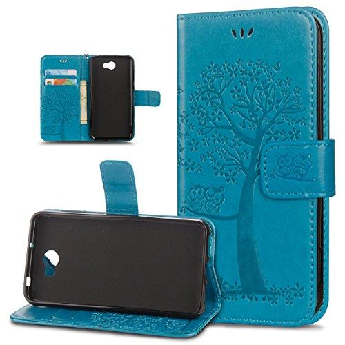 ikasus Coque Huawei Y5 II Etui Motif de relief d'arbre à deux hiboux Cuir PU Housse Etui Coque Portefeuille supporter Carte de crédit Poches Flip Case Etui Housse Coque pour Huawei Y5 II,Bleu
