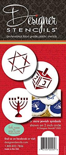 Designer Stencils Jewish Symbols Cookie and Cupcake Stencils, Small, (Dreidel, Star of David, Menorah), Beige/semi-transparent
