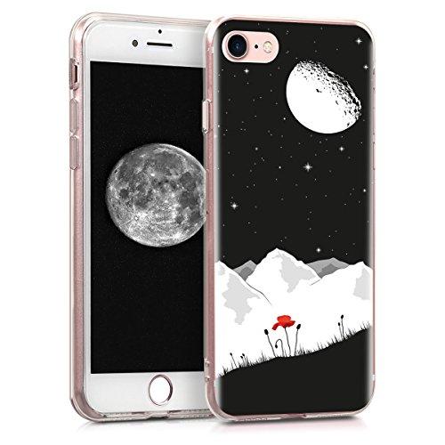 kwmobile Cover Compatibile con Apple iPhone 7/8 / SE (2020) - Back Case Custodia in Silicone TPU Cover Trasparente Paesaggio lunare Bianco/Rosso/Nero