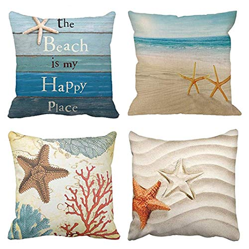 Emvency Set of 4 Throw Pillow Covers The Beach Starfish and Summer is My Happy Place Rhinestone Decorative Pillow Cases Home Decor Square 20x20 Inches Pillowcases