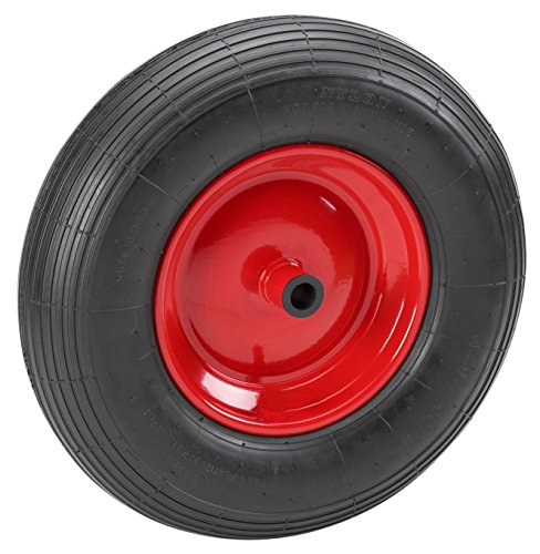 Metafranc Pannensicheres Rad Ø 400 mm - Stahl-Felge - Typ 4.80 / 4.00 - 8 - 100 kg Tragkraft - Rollenlager / Vollgummi-Rad für Schubkarren / Komplettrad mit Felge / Schubkarrenrad / Ersatzrad / 810800