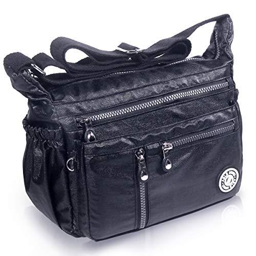 AIBILIEI multi-tasca Moda Borsa Messenger Bag, Squisito Donna Viaggio, Escursioni, Shopping uso Quotidiano(4-Nero lucido)