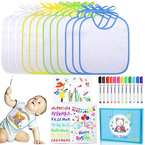 Lenbest 12 Stück Mehrfarbige Borte Lätzchen zum Bemalen, 26 * 30CM Weißes Baby Dreieckstuch Halstücher mit 12 Textilstiften und 3 Malen Schablonen - Perfektes Geschenk für Babyshower Party