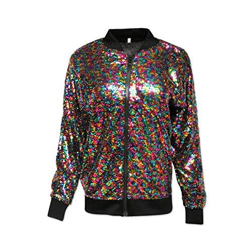 Pailletten-Bomberjacke, silberfarben, Festival, Clubbing, Party, Disco, 70er Jahre Gr. M/L, Rainbow Sequin