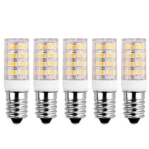 SanGlory 5er Pack 5W E14 LED Lampe ersetzt 40W Glühlampe,warmweiß (3000 Kelvin),400 Lumen E14 Energiesparlampe für Kühlschrank, Tischlampe