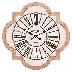 Patton Wall Decor 25 Inch Quatrefoil Wood and Galvanized Metal Roman Numeral Wall Clock, White