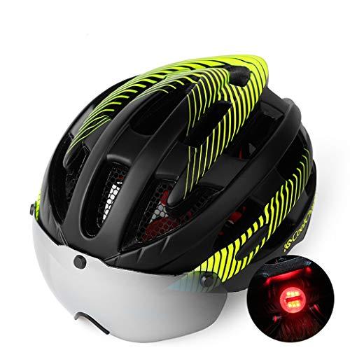 Fietshelm, mountainbike, bril, bril voor mannen en vrouwen, racefietshelm, magnetische verbrede bril met achterlichten met insectennetten