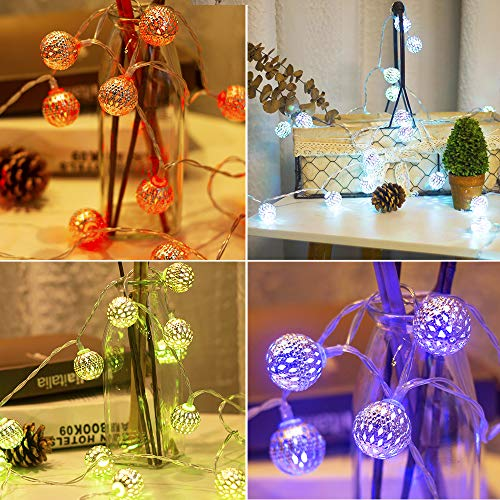 Obrecis Color Changing Globe String Lights, 50LED Moroccan Christmas Lights USB Plug Metal Ball Decorative Lights with Remote for Diwali, Indoor, Boho Girls Bedroom Xmas Tree Decor- 32.8ft (RGB) 3