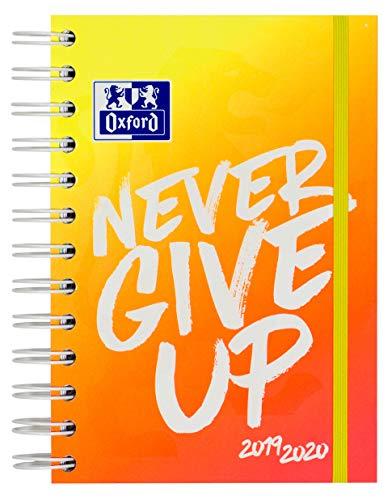 Oxford 400123415 Agenda scolaire 2019/2020 Never give up Neon 1 jour par page 160 pages avec double spirale SCRIBZEE compatible Orange