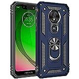 Funda para Motorola G7 Play funda para teléfono móvil, Cover Bumper 360 grados Ring Stand magnética funda para Motorola G7 Play móvil fundas azul talla de un talla