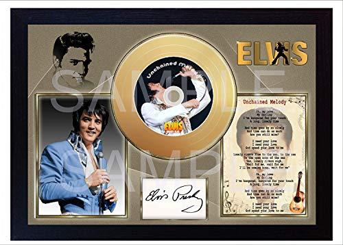 SGH SERVICES Elvis Presley Unchained Melody Moody Blue Mini Gold Schallplatte gerahmter Fotodruck