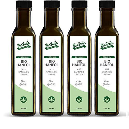Hanföl BIO kaltgepresst 1000ml von Miasanis® Hoher Anteil an Omega 3-6-9 Fettsäuren - Bio Hanföl ideal für kalte Speisen - wohlschmeckend nussig 4x250ml
