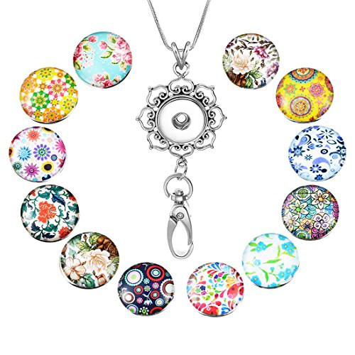 Souarts Womens Office Lanyard ID Badges Holder Necklace with 12pcs Snap Charms Jewelry Pendant Clip (Flower)
