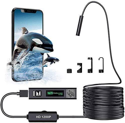 WiFi Endoscopio 2,0 Megapíxeles 1200P HD Camara Endoscopica IP68 Impermeable WiFi Boroscopio Camara Inspecion con 8 LED Ajustables para Android, iOS, Windows y Mac(10M)
