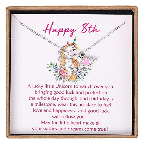 Giuesytic 8 Year Old Girl Birthday Gift Sterling Silver Pink Heart with Wings and Unicorn Charm Necklace Birthday Gifts for 8 Year Old Girl Idea with Card and Gift Box