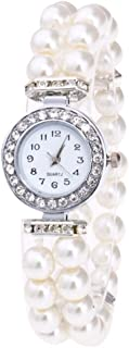Girls Wristwatch Pearl Beaded Band Quartz Watch Chic Lady Elegant Jewelry for Women