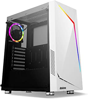 Antec NX Series NX300 WHITE, Mid-Tower ATX Gaming Case, Tempered Glass Side Panel, LED Strip Front Panel, 1 X 120 mm ARGB ...