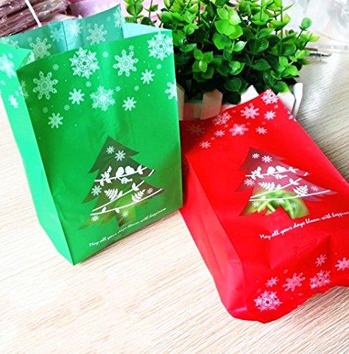 creve クリスマス ラッピング袋 ギフトバッグ opp袋 お菓子袋 クリスマスツリーデザイン 20×9×7�p 奥行あり 2色 20枚セット