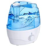 VicTsing 2200ml Cool Mist Humidifiers, Ultrasonic Humidifiers with Large Water Tank, 24 Working Hours, Waterless Auto-Off, 28dB Quiet Air Humidifier for Bedroom, Babyroom, Living Room-White&Blue