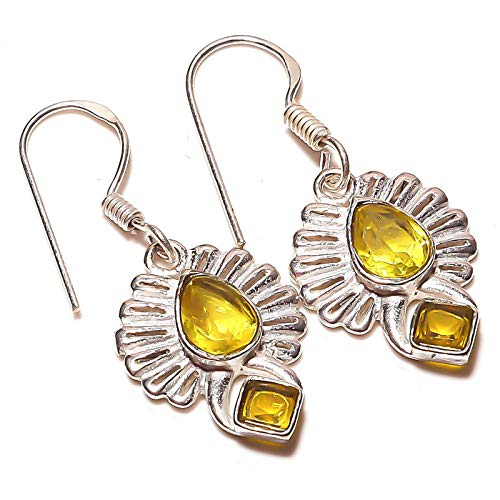Yellow Citrine EARRING 1.5' Long, HANDMADE Silver Plated! Jewelry from...