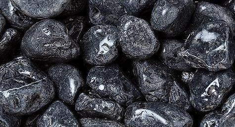 WUEFFE Ciottoli di Marmo Nero Ebano - Sacchi da 25 kg - Sassi Pietre Giardino (40/60 mm, 1 Sacco da kg.25)