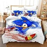 Juego de ropa de cama para niños Sonic Anime – Funda nórdica y funda de almohada, microfibra, impresión digital 3D de tres piezas., 3, 135 x 200 cm