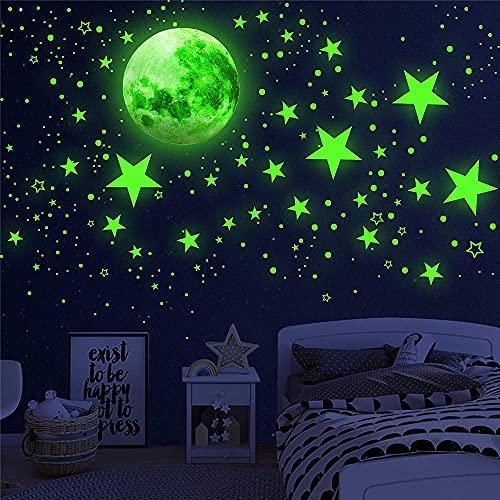 1003 pegatinas de estrellas que brillan en la oscuridad, realistas 3D Estrellas fluorescentes para techo,Pegatinas de pared de luna y estrella para habitación de niños,niñas pared, dormitorio (verde)