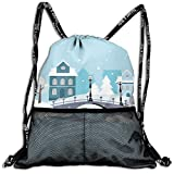 AZXGGV Drawstring Backpack Rucksack Shoulder Bags Gym Bag Sport Bag,Winter Season Composition Snow Pattern with Houses and Bridges Architecture