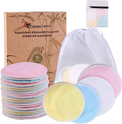 Tampons Démaquillants fibre de bambou丨disques coton demaquillant lavable丨16pcs+ 2 Sac de lavage丨Matériau en fibre de bambou souple 丨Lavable et réutilisable丨Anti-bactéries丨Emballage biodégradable