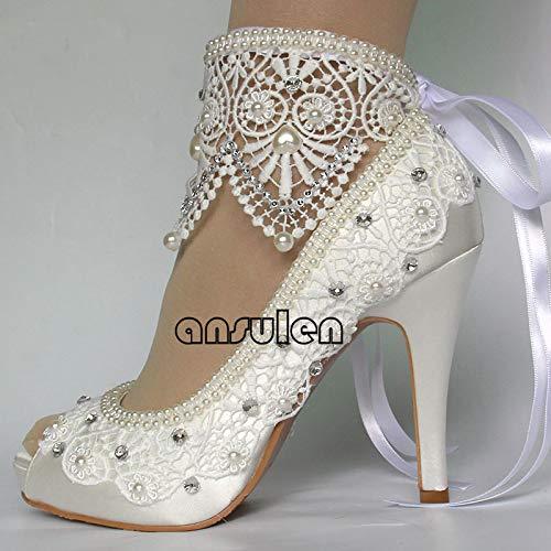 Women's wedding shoes White Ivory Lace