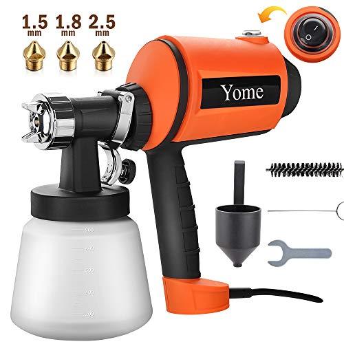Paint Sprayer 830ml/min, Yome Electric Spray Paint Gun with Three Spray Patterns, Three Copper...