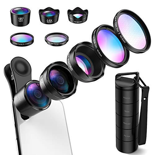 (Upgraed) Phone Camera Lens, 5 in 1 Cell Phone Lens Kit, Macro Lens, Wide Angle Lens, Fisheye Lens, CPL, Starburst Lens for iPhone X 8 7 Plus, Samsung, Smartphones(New Old Package Randomly Sent)