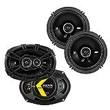Kicker 43DSC69304 D Series 6x9 Inch 360 Watt 3 Way Dual Speakers with 43DSC6504 6.5 Inch 240 Watt 2 Way 4 Ohm Car Audio Coaxial Speakers
