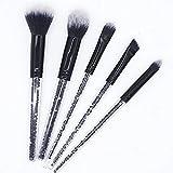 PoplarSun 5pcs Negro Diamante Shinny Maquillaje del Sistema de cepillos Fundación Brocha cosmética Belleza Maquillaje Herramientas