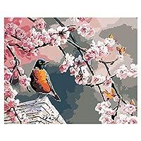 デジタルペイント、Daeum Red Plum Bird DIY Painting By Numbers Modern Wall Art Picture For Kids