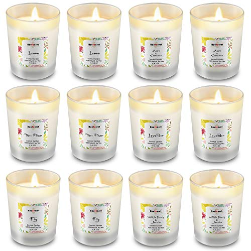 Housecret Pack of 12 Luxury Highly Scented Candles Gift Set with 6 Fragrances for Home and Women, Aromatherapy Soy Wax Glass Jar Candle
