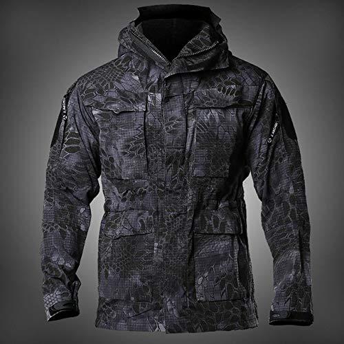 HANGON M65 Veste coupe-vent imperméable à capuche pour homme Plusieurs poches