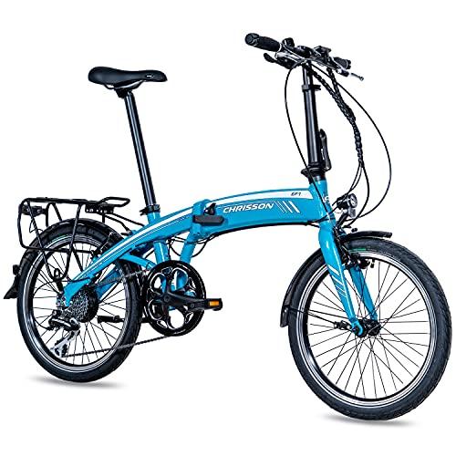 CHRISSON 20 Zoll E-Bike City Klapprad EF1 blau - E-Faltrad mit Ananda Nabenmotor 250W, 36V und 40 Nm, Pedelec Faltrad für Damen und Herren, praktisches Elektro Klappfahrrad, perfekt für die Stadt