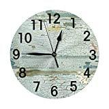 AEMAPE Reloj de Pared de Fondo Vintage con Pintura de Grietas, Reloj Redondo silencioso sin tictac, Funciona con Pilas, decoración de Pared artística de 9,8 Pulgadas