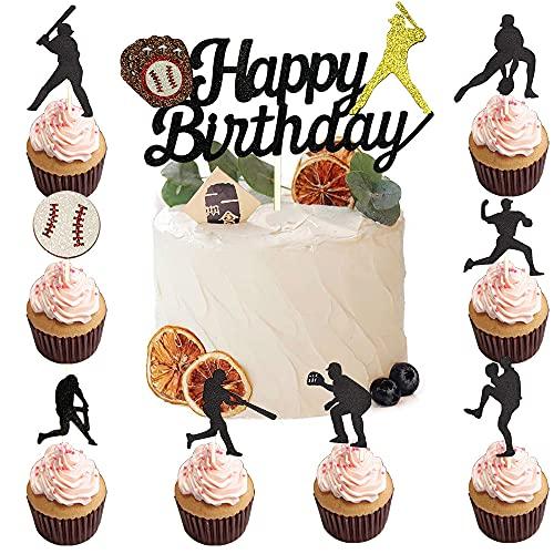 25PCS Glitter Black Baseball Sports Cupcake Topper Baseball Cake Topper Happy Birthday for Kids Boys Girls Men Birthday Baseball Sports Party Theme Supplies