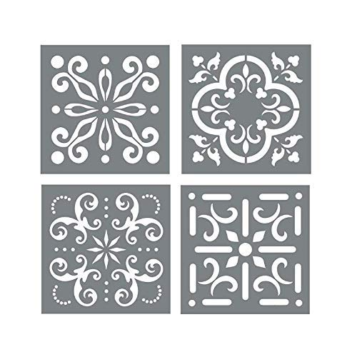 Mexican Tile Stencil Set - Pack of Four 6x6 Tile Stencil Designs for Painting - Wall or Floor Tile Stencil Designs - for Making Mosaic Tile Stencil Patterns