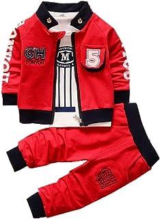 مجموعة ملابس الأطفال للأولاد + تي شيرت + بنطلون رياضي لحديثي الولادة مكون من ثلاث قطع