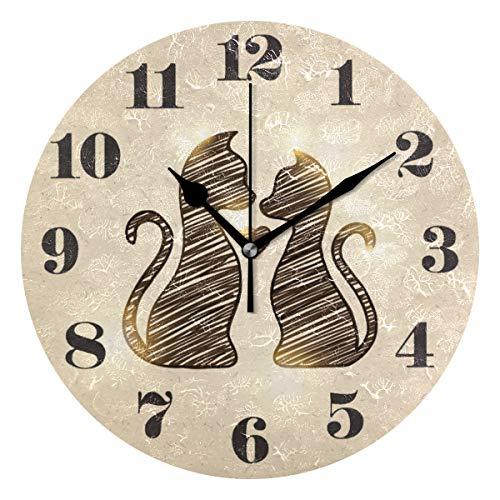 Mnsruu, orologio da parete rotondo, silenzioso, senza ticchettio, con gatti, per soggiorno, camera da letto, ufficio, facile da leggere