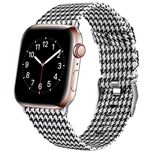 Ouwegaga Kompatibel mit Apple Watch Armband 38mm 40mm 42mm 44mm, Ersatzgewebe Band Nylon Armband Kompatibel mit iWatch Serie 5 4 3 2 1, Weißes Gitter 38mm/40mm