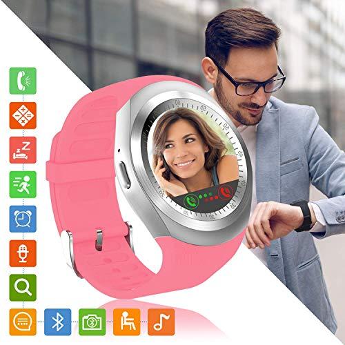 Tipmant Reloj Inteligente Mujer Hombre SN05 Smartwatch Pantalla táctil con Ranura para Tarjeta SIM Podómetro Moviles Buenos Pulsera de Actividad para Android Xiaomi Samsung Huawei (Rosa)