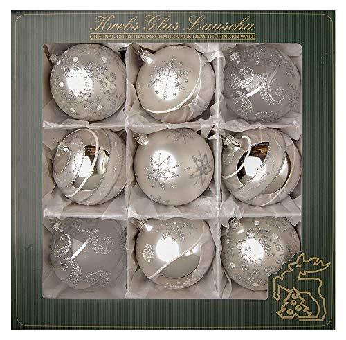 Krebs Glas Lauscha - Satin-Glaskugelsortiment (Silber, 10 cm)