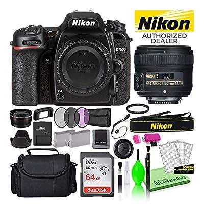 Nikon D7500 20.9MP DSLR Digital Camera with AF-S 50mm f/1.8G Lens (1581) USA Model Deluxe Bundle -Includes- Sandisk 64GB SD Card + Large Camera Bag + Filter Kit + Spare Battery + Telephoto Lens + More by Nikon