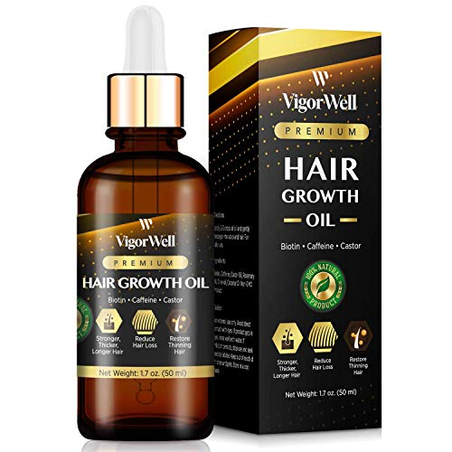 Hair Growth Oil Natural with Caffeine, Biotin and Castor - Hair Growth Oil for Stronger, Thicker, Longer Hair 1.7 oz